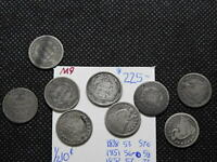 1838-1873 1/2 10C SEATED LIBERTY HALF DIME  LOT OF 9 COINS ALL DIFFERENT DATES