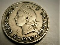 1937  5 GRAMOS SILVER DOMINICAN REPUBLIC CIRCULATED