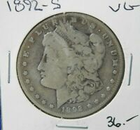 1892 S  MORGAN SILVER DOLLAR COIN VF 277