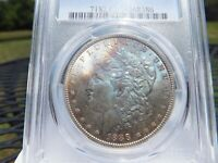 1888 P PCGS MINT STATE 63 MORGAN SILVER DOLLAR US COIN INCREDILE COLORFUL OBVERSE TONING