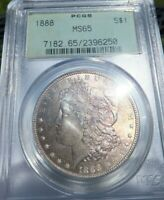 1888 P PCGS MINT STATE 65 MORGAN SILVER DOLLAR US COIN INCREDILE COLORFUL OBVERSE TONING