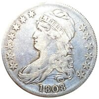 1808 CAPPED BUST SILVER HALF DOLLAR SCARCE EARLY DATE   SILV