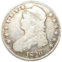 1826 CAPPED BUST SILVER HALF DOLLAR IN CIRCULATED OVERTON VA