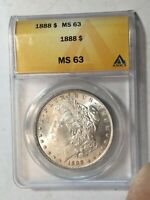 1888-P MORGAN SILVER DOLLAR DATE UNC FROM ALBUM COLLECTION ANACS MINT STATE 63 M12