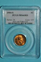 LINCOLN CENT 1954 S PCGS MINT STATE 66 RD