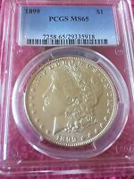 1899 $1 MORGAN SILVER DOLLAR MINT STATE 65 PCGS EXCELLENT COIN