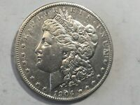 1904-P MORGAN SILVER DOLLAR DATE AU UNC FROM ALBUM AU CLEANED CONDITION M14