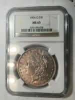 1904-O NGC MINT STATE 63 MORGAN SILVER DOLLAR KEY DATE UNC FROM SET COLLECTION M14