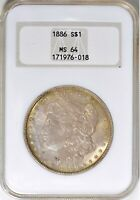 1886 NGC MINT STATE 64 MORGAN SILVER DOLLAR $1 GOLDEN TONED OBVERSE OH OLD FATTY HOLDER