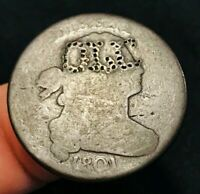 1801 DRAPED BUST LARGE CENT COUNTERSTAMPED 'OLC' FULL DATE US COPPER COIN CC1030
