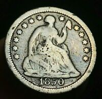 1850 SEATED LIBERTY HALF DIME 5C UNGRADED DETAILS VG DATE US SILVER COIN CC2036