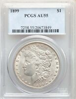 1899 P PCGS AU55 MORGAN SILVER DOLLAR LOW MINTAGE DATE ONLY 330,000 ABOUT UNCIRC