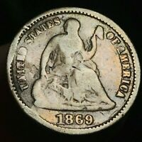 1869 S SEATED LIBERTY HALF DIME 5C UNGRADED DETAILS  US SILVER COIN CC2044
