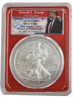 2020 P $1 AMERICAN SILVER EAGLE PCGS 69 EMERGENCY PRODUCTION TRUMP RED CORE
