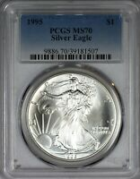 1995 AMERICAN SILVER EAGLE PCGS MS70 - ONLY 91 GRADED AT THIS LEVEL
