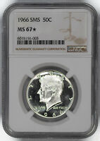 1966 SMS KENNEDY HALF DOLLAR 50C NGC CERTIFIED MINT STATE 67 MINT STATE UNC STAR 003