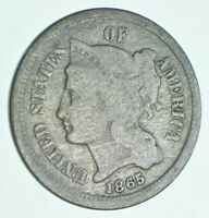 1865 NICKEL THREE CENT PIECE   CHARLES COIN COLLECTION  497