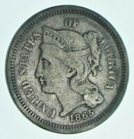 1865 NICKEL THREE CENT PIECE   CHARLES COIN COLLECTION  509