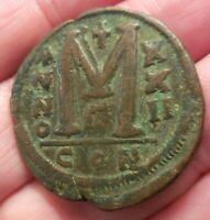 WOW BEST I HAVE SEEN  JUSTINIAN I  40 NUMMI. CONSTANTINOPOLIS  17.9 G 34.5 MM