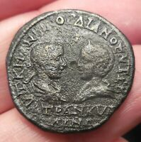 WOW VF   THRACE ANCHIALUS GORDIAN III WITH TRANQUILLINA 238 244 AD TOWERS & GATE