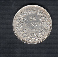 1874 CANADA 25 CENTS COIN