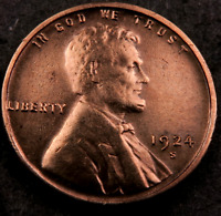 1924 S LINCOLN WHEAT PENNY CENT // GEM BU  RED  //    W8824