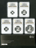 GREAT BRITAIN 2014 BRITANNIA 5 COIN SILVER PROOF SET ULTRA CAMEO MIB NGC PF70