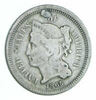1865 NICKEL THREE CENT PIECE   HOLED COIN COLLECTION  992