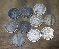 1836 THRU 1861 LIBERTY SEATED HALF DIMES LOT OF 10 ASSORTED