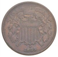 TWO CENT   1865 US TWO 2 CENT PIECE   FIRST COIN WITH IN GOD