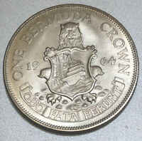 UNCIRCULATED 1964 BERMUDA SILVER COIN ONE CROWN WORLD SILVER