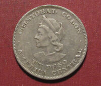 1908 EL SALVADOR PESO   NICE DETAIL .900 FINE SILVER DULL SURFACES