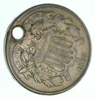 1865 TWO CENT PIECE   HOLED COIN COLLECTION  045