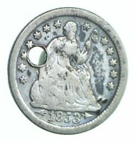 1853 O SEATED LIBERTY HALF DIME   HOLED COIN COLLECTION  840