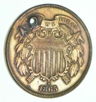 1865 TWO CENT PIECE   HOLED COIN COLLECTION  047