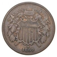 TWO CENT   1869 US TWO 2 CENT PIECE FIRST COIN WITH IN GOD
