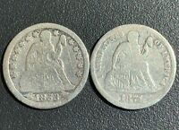 2  SEATED LIBERTY  DIMES 10C NICE BETTER DATES 1853  1871