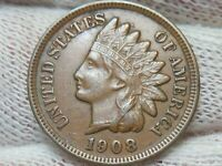 1908 INDIAN HEAD CENT PENNY  FULL LIBERTY  AU ABOUT UNCIRCUL