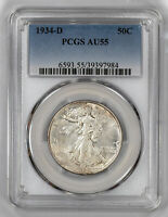 1934 D WALKING LIBERTY HALF DOLLAR 50C SILVER PCGS AU 55 ABOUT UNCIRCULATED 984