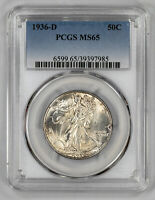1936 D WALKING LIBERTY HALF DOLLAR 50C PCGS MINT STATE 65 MINT STATE UNCIRCULATED 985