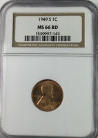 1949 S LINCOLN CENT NGC MINT STATE 66 RED