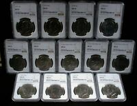 13 PIECE LOT EISENHOWER DOLLARS NGC MS 65 DIFFERENT DATES 19