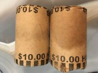 2 X $10 SILVER HALF DOLLAR PAPER WRAPPED ROLLS $20 90  PURE