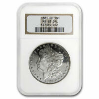 1881-CC MORGAN DOLLAR MINT STATE 63 DPL NGC - SKU213634