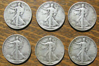 SIX WALKING LIBERTY HALF DOLLARS INCLUDING A 1920-S AND FIVE FROM 1930S