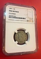 1891 LIBERTY NICKEL NGC FINE DETAILS CLEANED