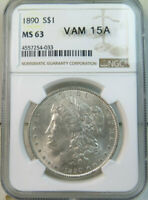 1890 MORGAN DOLLAR NGC MINT STATE 63 VAM 15A GOUGES UNDER WREATH BR