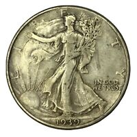 1939 50C WALKING LIBERTY HALF DOLLAR EXTRA FINE  UNCERTIFIED