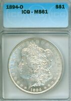 1894-O MORGAN DOLLAR - ICG GRADED MINT STATE 61, UNTONED AND REALLY TOUGH IN MINT STATE