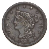 1851 BRAIDED HAIR HALF CENT   WALKER COIN COLLECTION  779